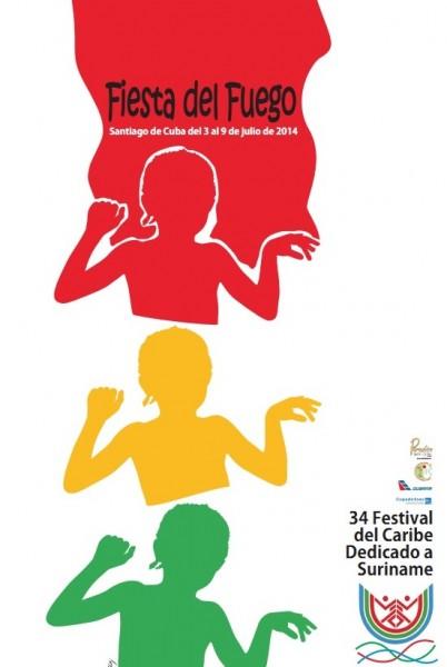 Cartel 34 Edición del Festival del Caribe, Santiago de Cuba 2014. Casa del Caribe.