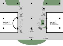 """Plano de ubicación de los centros en la ExpoFeria """"12 años haciendo software"""""""