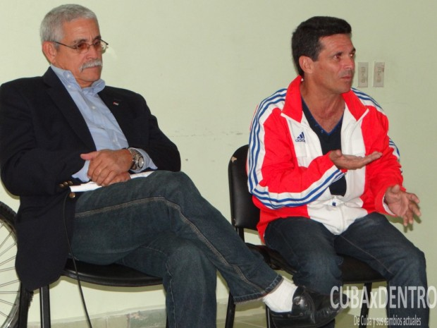 Momentos de la visita de Nirio Rivero y Milton Díaz Cánter a la Universidad de Ciencias Informáticas