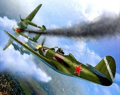 Yak soviético derriba un bombardero alemán
