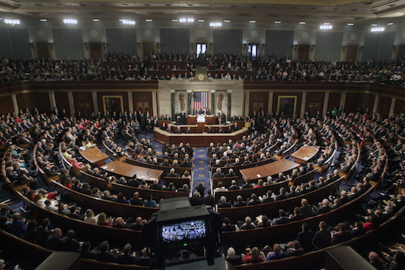 Pope Francis addresses a joint meeting of Congress on Capitol Hill in Washington, Thursday, Sept. 24, 2015, making history as the first pontiff to do so. (AP Photo/Pablo Martinez Monsivais)