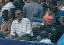 Barack Obama y Raúl Castro durante el partido Tampa Bay vs Cuba