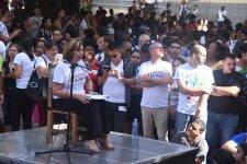 Josefina Vidal durante el diálogo con los jóvenes cubanos