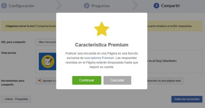 Notificación de que los resultados no se mostraran hasta ser usuario Premium