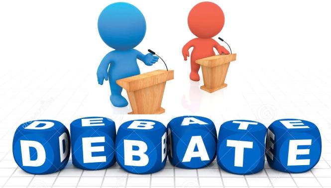 personas en medio de un debate