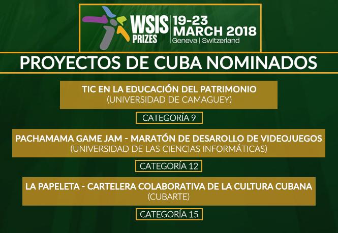 Los 3 proyectos de Cuba nominados a los Premios Wsis 2018